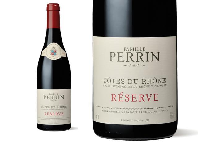 Bouteille et Etiquette Perrin Réserve Rouge 2010